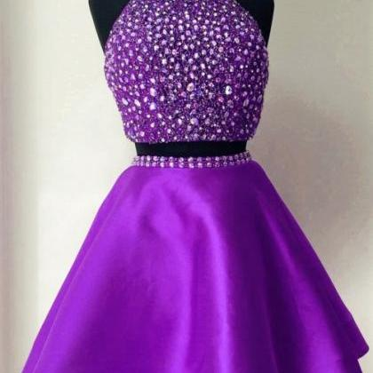 Purple Two-Piece Homecoming Dress F..