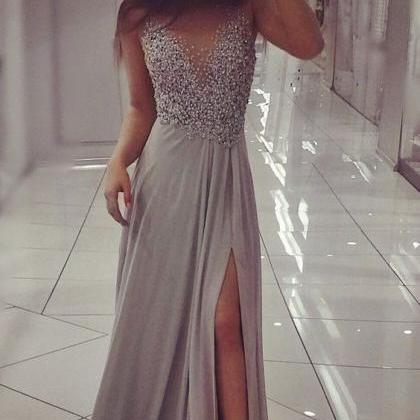 Grey Beading Top Prom Dresses Slit..