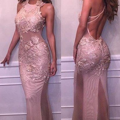 Mermaid Halter Pageant Dresses Lace..