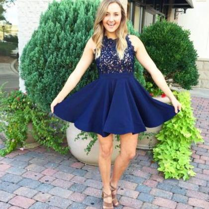 Navy Blue Homecoming Dress,Lace App..