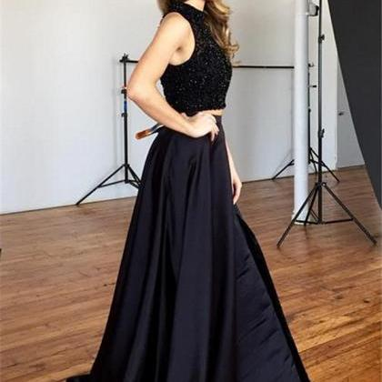 Two Piece Prom Dress,Black Beading ..