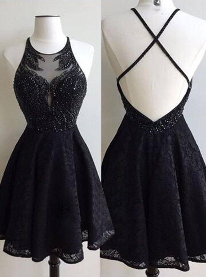 Black Lace Sexy Homecoming Dress Scoop Cross Strap Back Beading