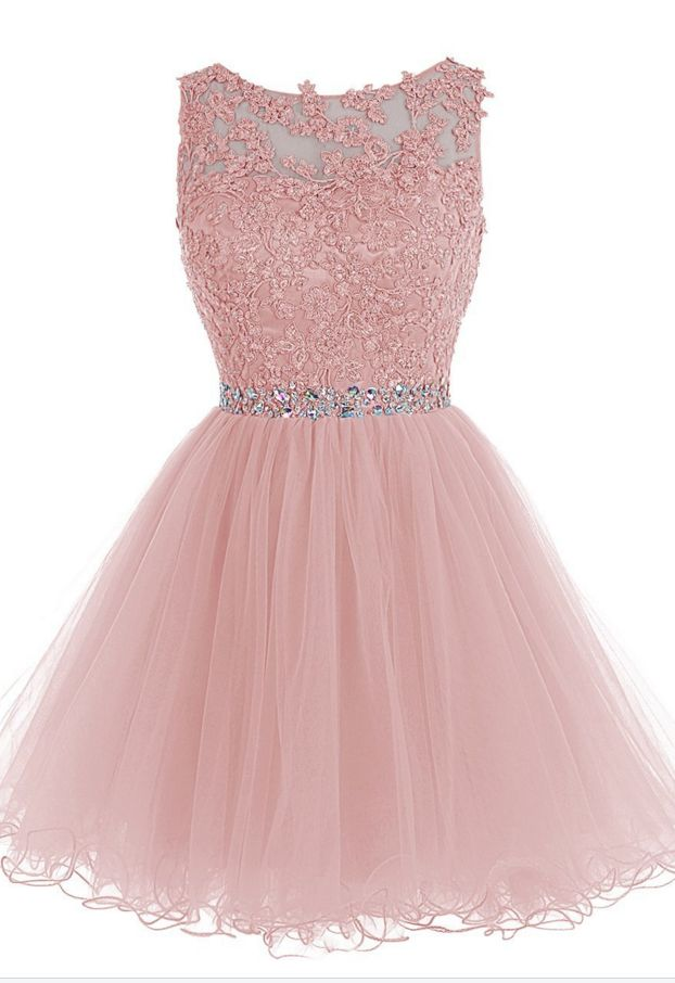 Pink Liques Homecoming Dress Chiffon Beadings