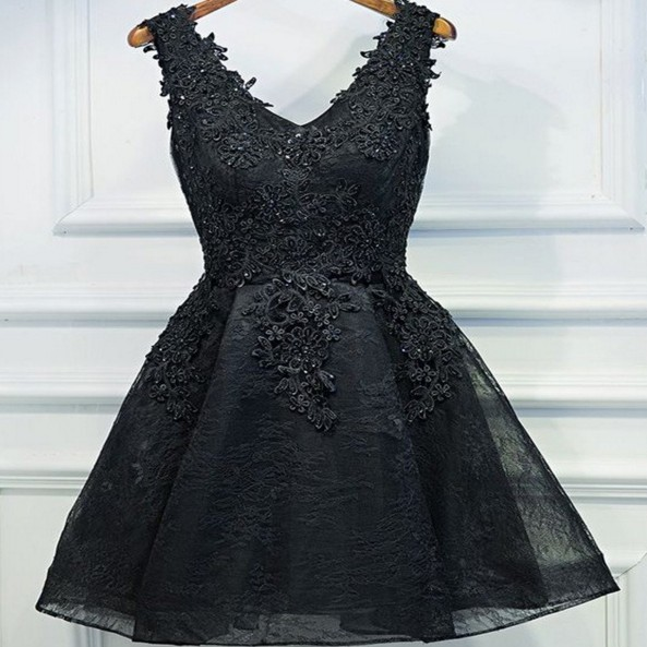 Black Lace Beaded Homecoming Dress, V-neck Short Prom Dresses