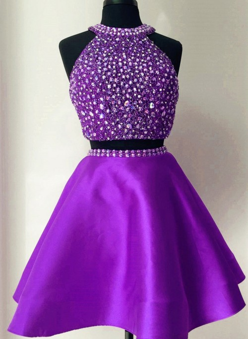 Purple Two-Piece Homecoming Dress Featuring Beaded Embellished Halter Neck Crop Top and Short Skater Skirt