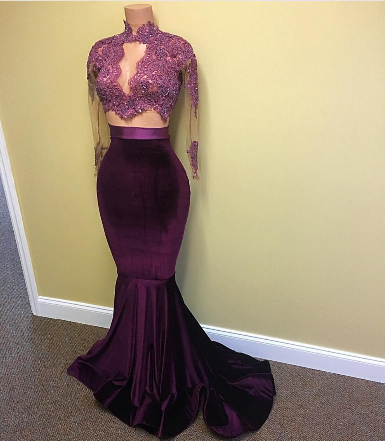 95b5e9129e4 Purple Velvet Prom Dress Two Piece Lace Pageant Dresses on Luulla