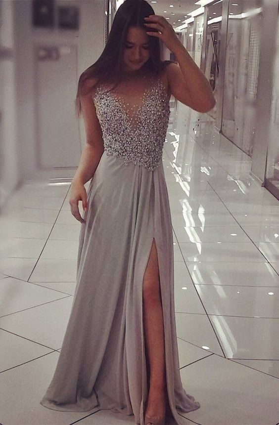 Grey Beading Top Prom Dresses Slit Pageant Dresses