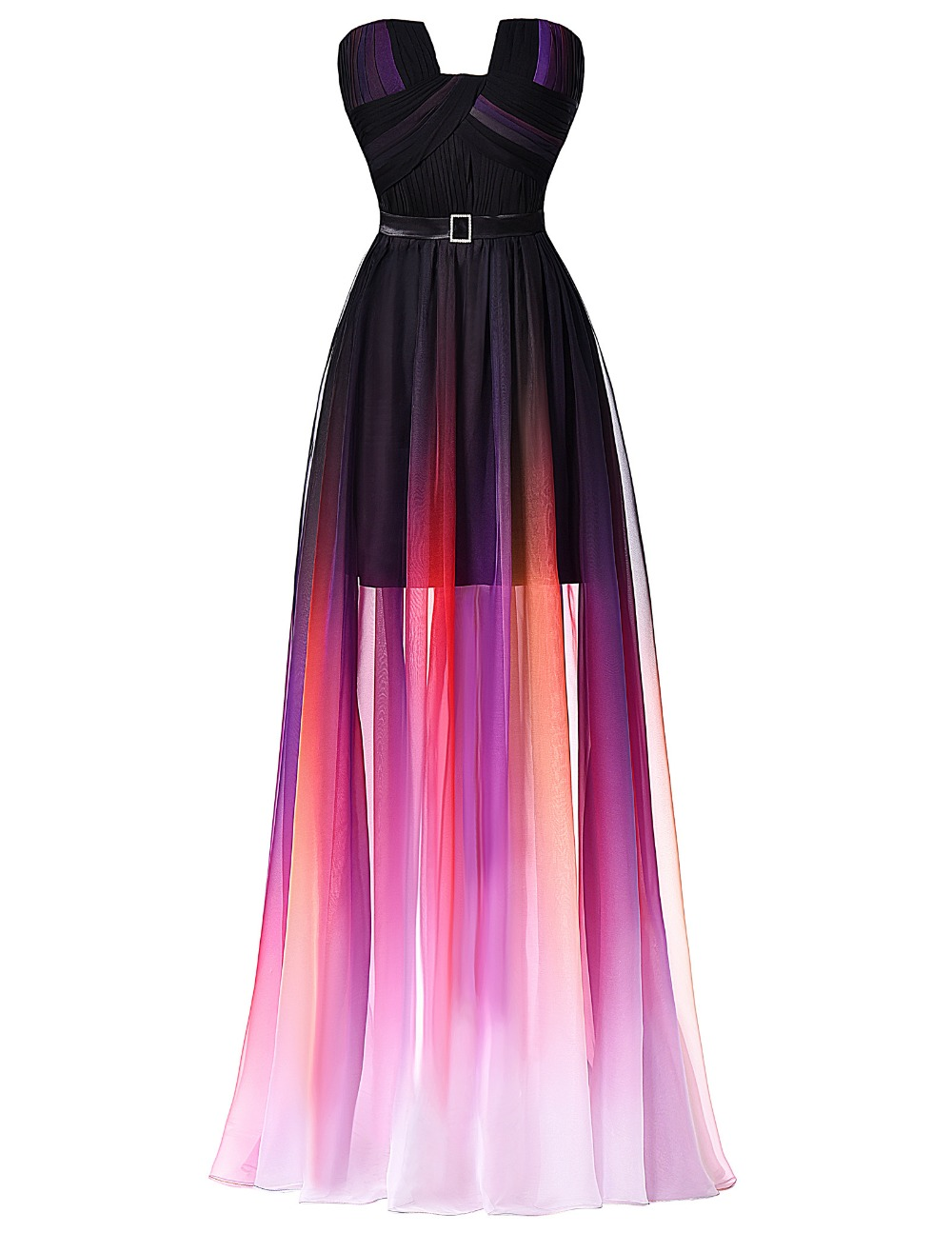 Ombre Long Prom Dresses,Strapless Chiffon Evening Dresses With ...