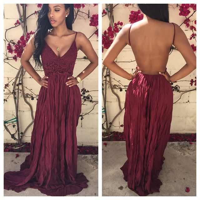 fb211a47f3c Sexy Backless Floor-Length Maroon Charming Prom Dresses on Luulla
