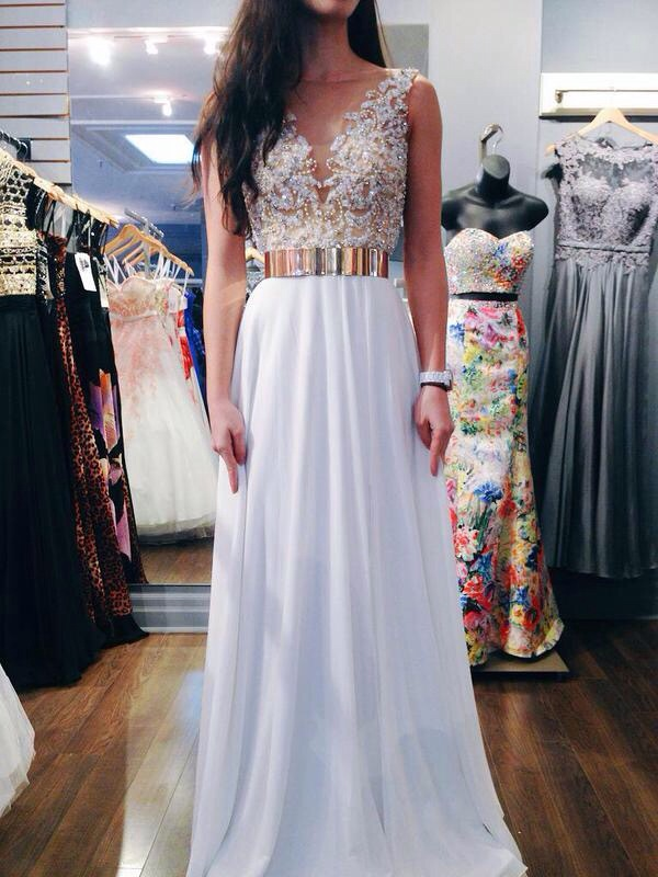Beaded White Prom Dresses,A-Line Prom Dress