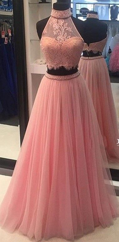 Pink Prom Dresses High Neck Dress Evening