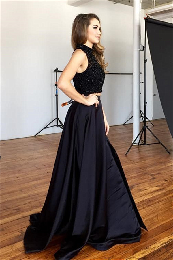 Two Piece Prom Dress,Black Beading Prom Dress,Evening Dress