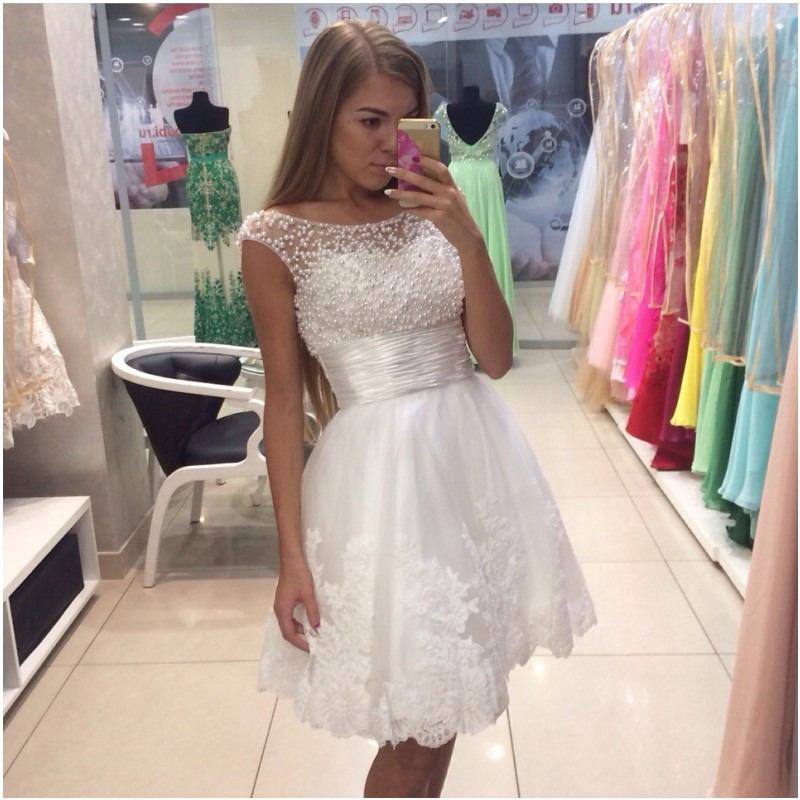classic famous brand another chance Short White Prom Dresses,A-line Beaded Prom Dress