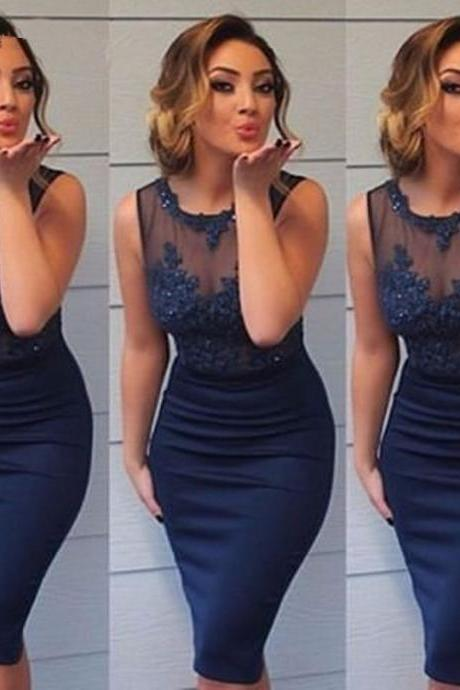 Navy Blue Short Cocktail Dresses,Sheer Tulle Appliques Beaded Tank Sexy Party Dresses