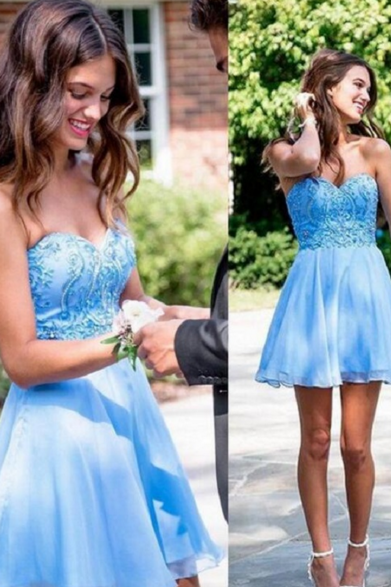2017 Blue Short A-Line Homecoming Dresses ,Tulle Sweetheart Appliques Off The Shoulder Graduation Dresses