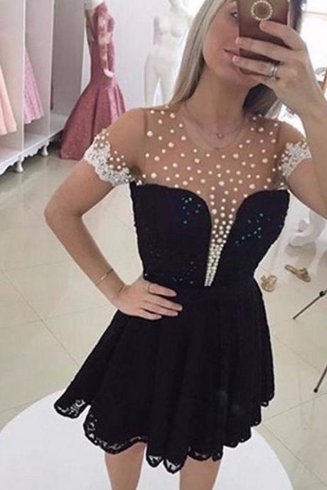 Short Sleeve Black Mini Homecoming Dresses, 2017 Lace Sequins Sheer Back Party Gowns