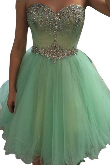 Sequins Beaded Short Homecoming Dresses, A-line Sweetheart Corset Puffy Tulle Party Dress