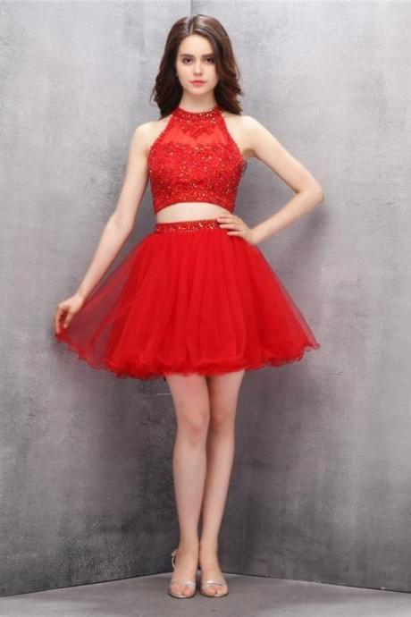 2 Piece red sequins Homecoming Dresses,Short sexy Dresses
