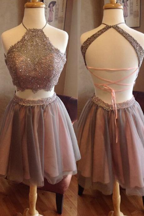 gray Scoop Cross Strap Back Homecoming Dress, Halter Chiffon Homecoming Dress