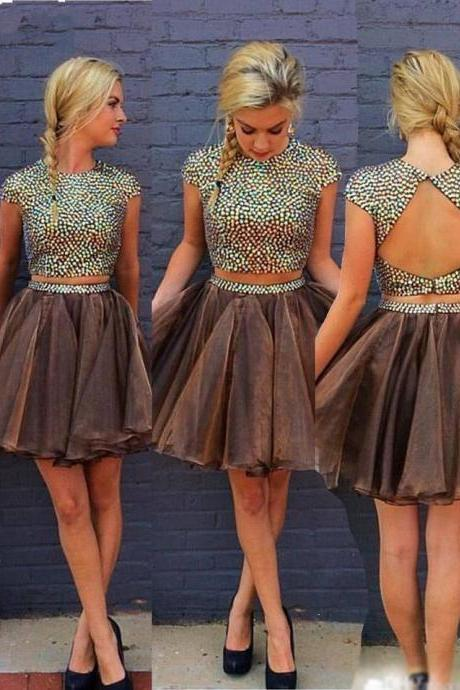 Two Pieces sequins Homecoming Dress, Backless tulle Sexy Dress