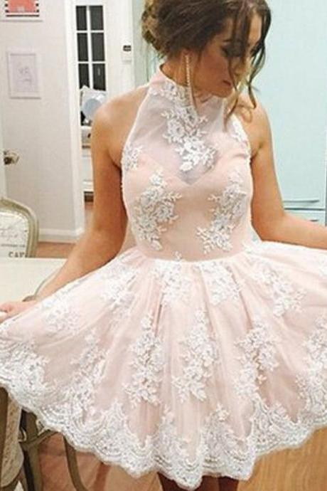 Baby Pink Halter sexy Dress, Appliques Strapless Homecoming Dress