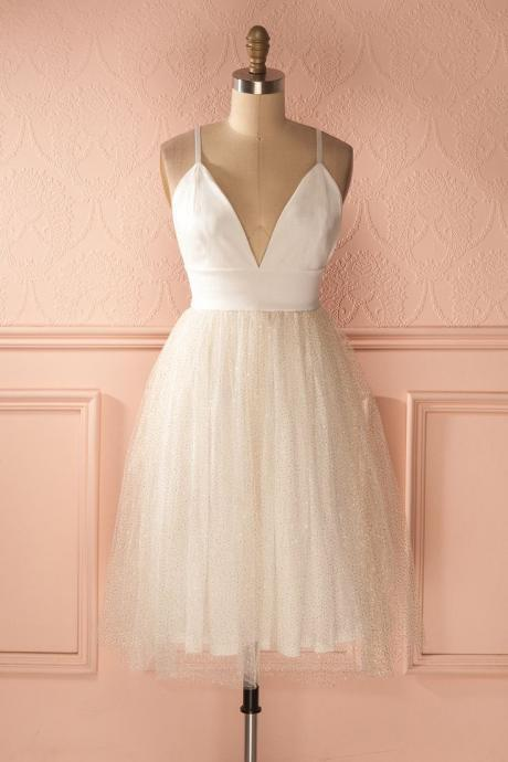 White chiffon Homecoming Dress, Sexy Deep V Neck Homecoming Dress