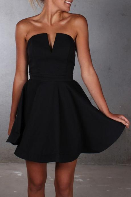 Black Simple Sexy Homecoming Dress, V Neck Strapless Dresses