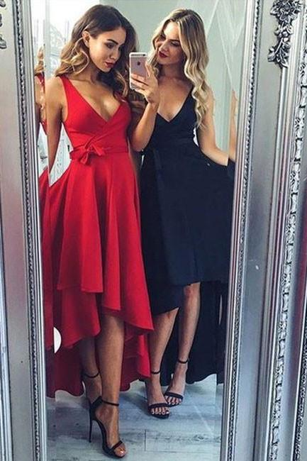 Black Long Sexy Homecoming Dress, Deep V Neck Homecoming Dress