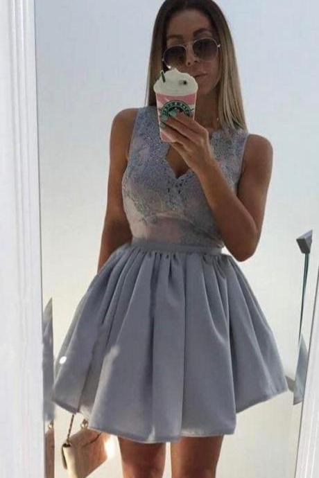 Gray Deep V Neck Homecoming Dress, Sequins Homecoming Dress