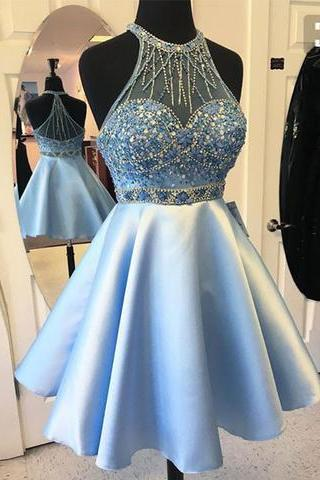 Blue Short Beads Prom Dress, Satin Halter Homecoming Dress