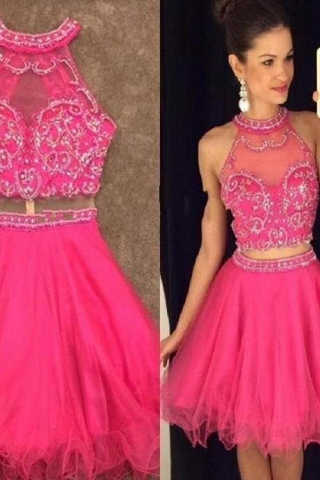 Pink Tulle Beadings Homecoming Dress, Halter Sexy Dress