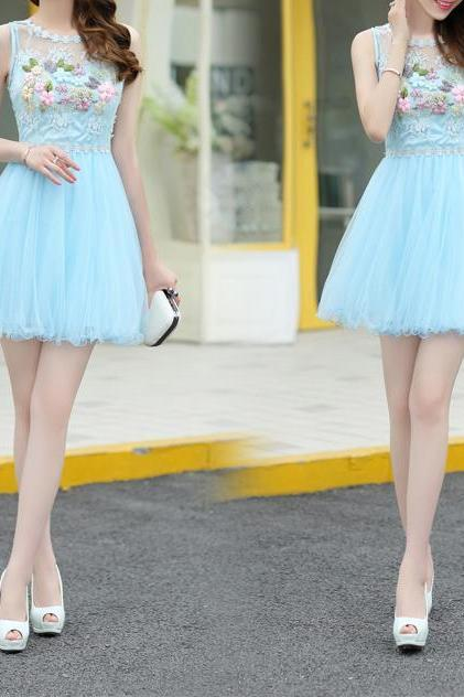 Blue Strapless Homecoming Dress, Appliques Short Homecoming Dress