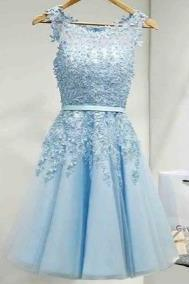 Blue Appliqiues Chiffon Homecoming Dress, Cuten Homecoming Dress