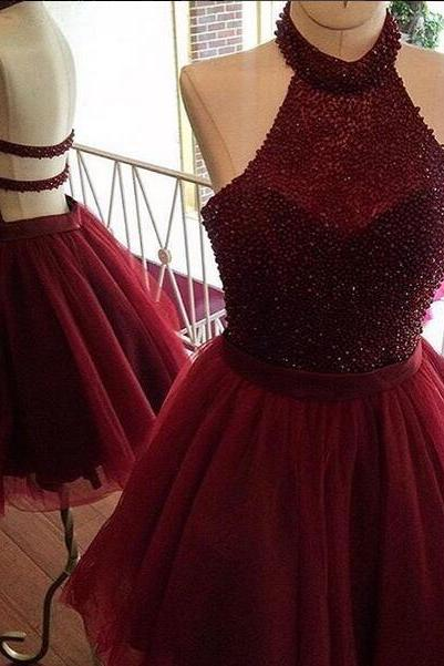 Burgundy A Line Short Homecoming Dress, Beading Halter Prom Homecoming Dresses