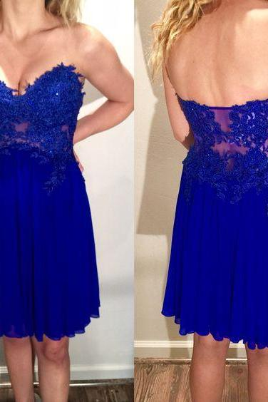 Royal Blue Chiffon Applique Homecoming Dress, Short V Neck Sexy Homecoming dress