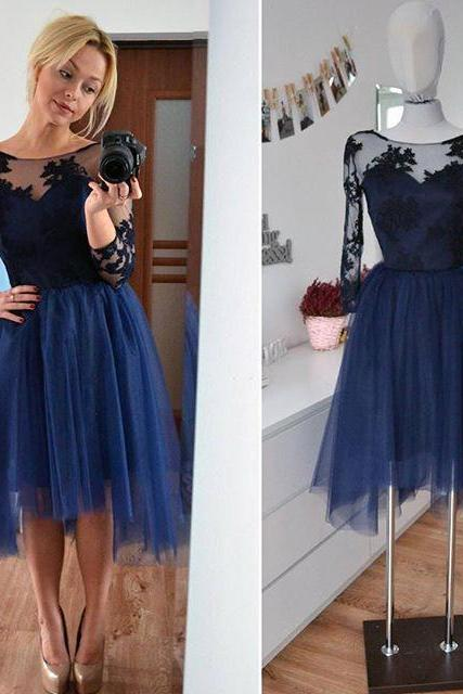 Tulle Applique Homecoming Dress, Long Sleeve Homecoming Dresses 2017