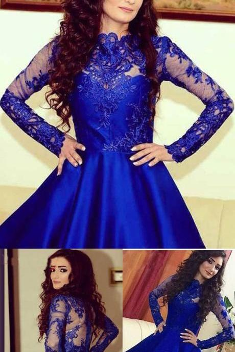 Blue Lace Applique Homecoming Dress, Long Sleeve Homecoming Dress