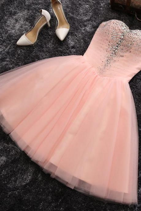 Baby Pink Crystal Tulle Homecoming Dress, Sweetheart A Line Homecoming Dress