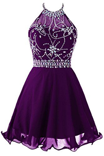 Purple Beads Chiffon Homecoming Dress, Halter Short Sexy Homecoming Dress,