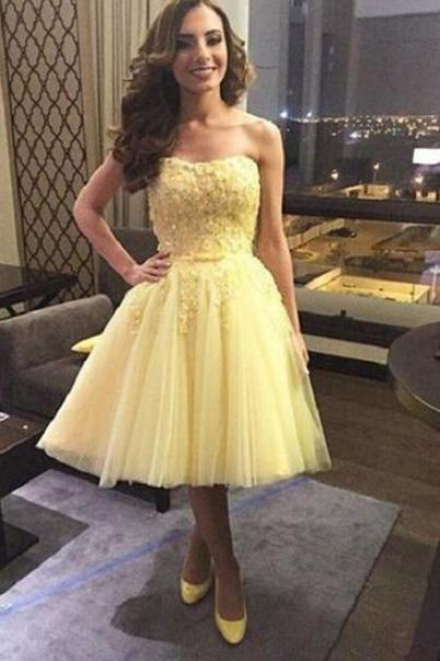 Yellow Applique Tulle Homecoming Dress ,Sweetheart Strapless Homecoming Dress