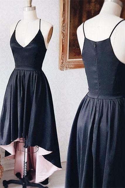 Black Deep V Neck Strapless Homecoming Dress ,Summer Party Sexy Homecoming Dress