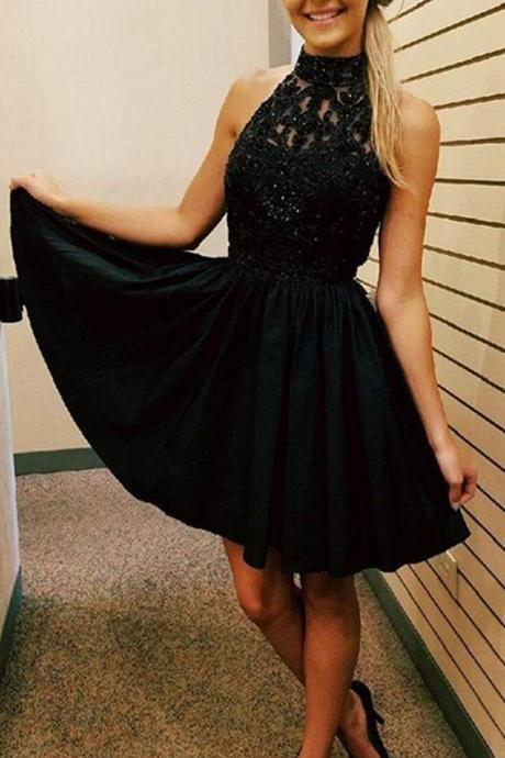 Black Chiffon Crystal Homecoming Dress, Halter Strapless Sexy Homecoming Dress