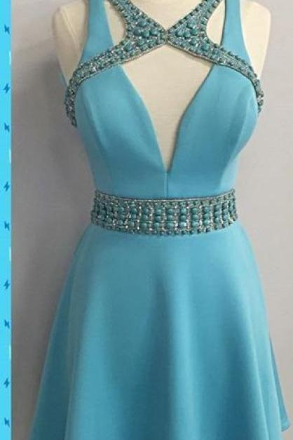 Blue Deep V Neck Beads Homecoming Dress, Strapless Sexy Short Homecoming Dress