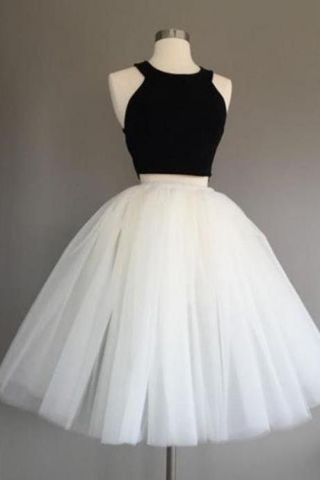 Two Piece Homecoming Dress ,Black Top White Tulle Skirt