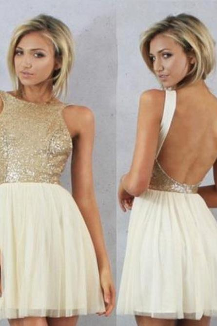 Sequins Backless Tulle Homecoming Dress,Short Bridesmaid Sexy Dress