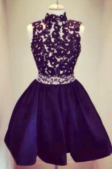 Black High-neck Beads Homecoming Dresses, Short Strapless Homecoming Dress