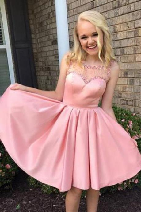 Pink Satin Beading Homecoming Dress,A-line Cute Homecoming Dress