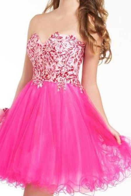 Pink Appliques Tulle Homecoming Dresses,Sweetheart Cute Homecoming Dresses