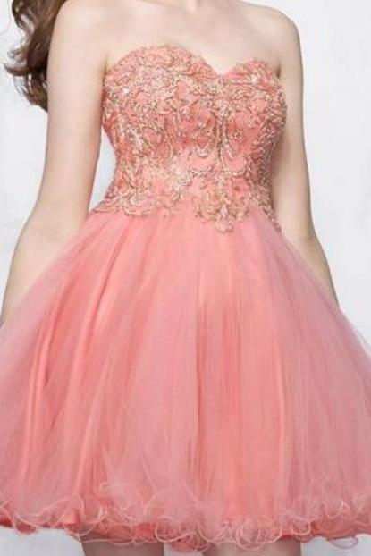 Pink Appliques Tulle Homecoming Dresses, Sweetheart Lovely Homecoming Dresses