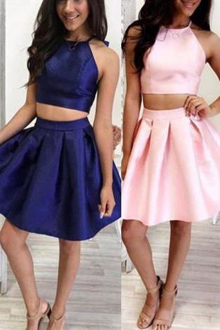 Navy Blue Two Pieces Homehoming Dress, Hater Strapless Homehoming Dress